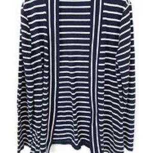 {J.Crew}Navy Blue Striped Open Cardigan Sz M EUC